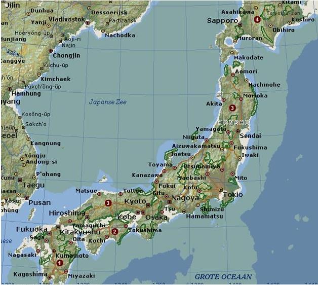 POW krijgsgevangen kampen Japan - This map