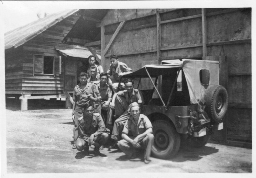 Crew in front of barracks in Padang