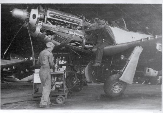 P-51 getting repaired