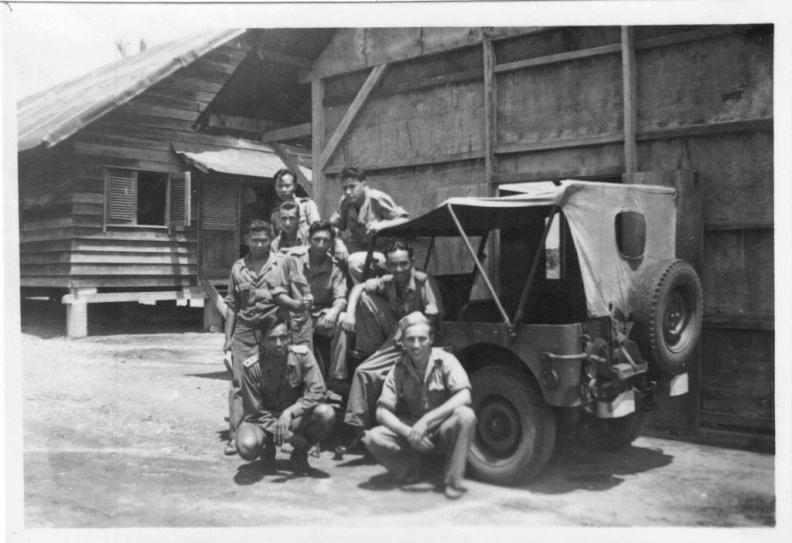 Crew in front of barracks in Padang